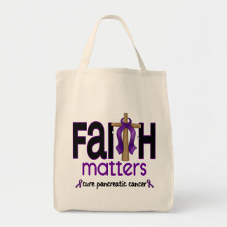 Pancreatic Cancer Faith Matters Cross 1 Tote Bags