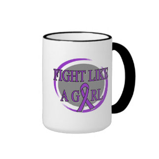 Pancreatic Cancer Fight Like A Girl Circular Mug
