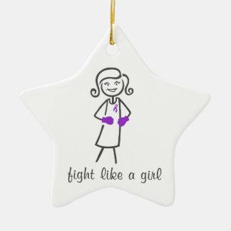 Pancreatic Cancer Fight Like A Girl (Retro) Christmas Ornament