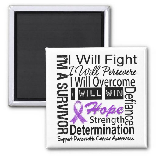 Pancreatic Cancer Fight Persevere Overcome Win Refrigerator Magnets