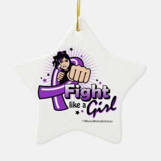 Pancreatic Cancer Fist - Fight Like a Girl Christmas Tree Ornaments