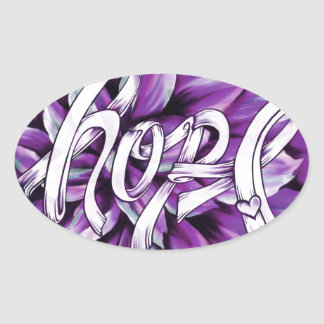 Pancreatic cancer floral hope products oval sticker
