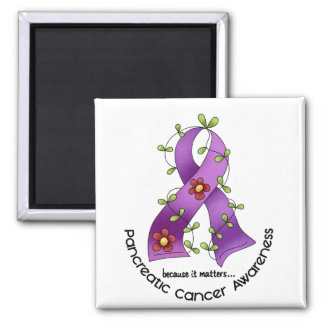 Pancreatic Cancer FLOWER RIBBON 1 Refrigerator Magnets