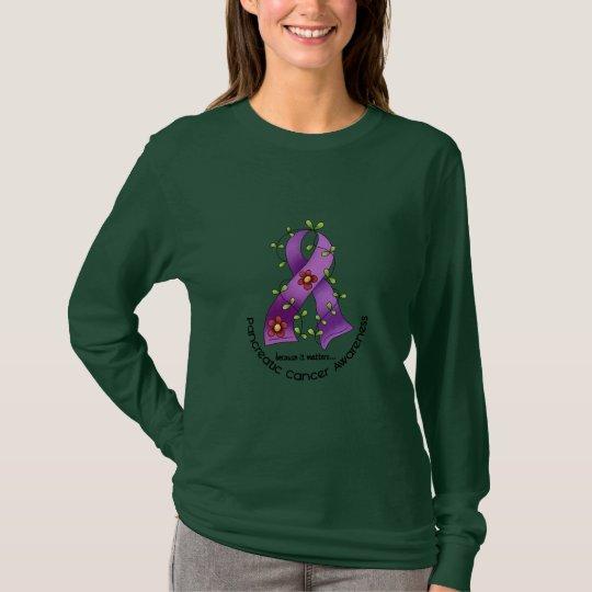 Pancreatic Cancer FLOWER RIBBON 1 T-Shirt