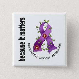 Pancreatic Cancer Flower Ribbon 3 Pinback Button