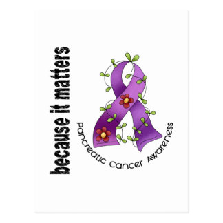 Pancreatic Cancer Flower Ribbon 3 Postcards