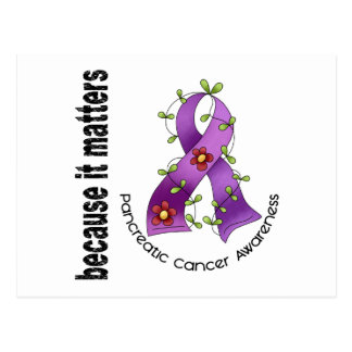 Pancreatic Cancer Flower Ribbon 3 Post Cards