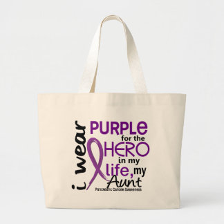 Pancreatic Cancer For My Hero My Aunt 2 Large Tote Bag