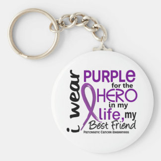 Pancreatic Cancer For My Hero My Best Friend 2 Basic Round Button Keychain