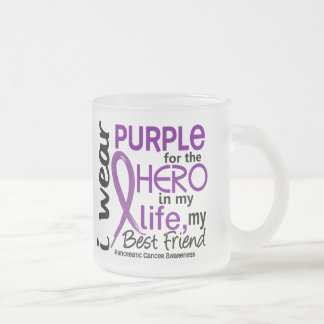 Pancreatic Cancer For My Hero My Best Friend 2 10 Oz Frosted Glass Coffee Mug