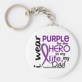 Pancreatic Cancer For My Hero My Dad 2 Basic Round Button Keychain