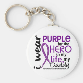 Pancreatic Cancer For My Hero My Daddy 2 Basic Round Button Keychain