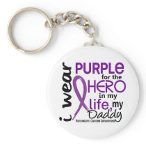 Pancreatic Cancer For My Hero My Daddy 2 Keychain