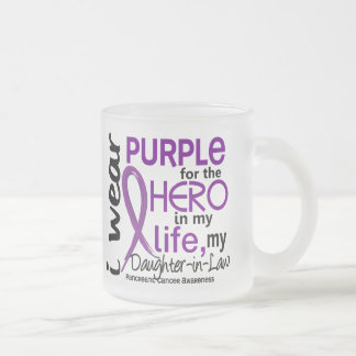 Pancreatic Cancer For My Hero My Daughter-In-Law 2 10 Oz Frosted Glass Coffee Mug
