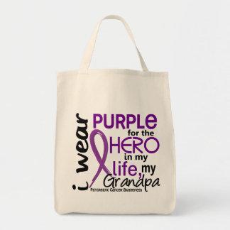Pancreatic Cancer For My Hero My Grandpa 2 Grocery Tote Bag