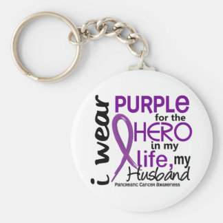 Pancreatic Cancer For My Hero My Husband 2 Basic Round Button Keychain
