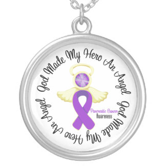 Pancreatic Cancer God Made My Hero An Angel Round Pendant Necklace