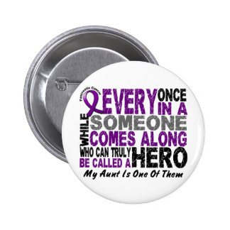 Pancreatic Cancer HERO COMES ALONG 1 Aunt Pinback Buttons