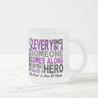 Pancreatic Cancer HERO COMES ALONG 1 Aunt 10 Oz Frosted Glass Coffee Mug