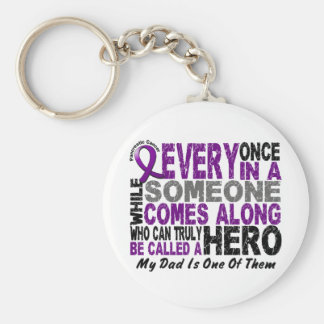 Pancreatic Cancer HERO COMES ALONG 1 Dad Basic Round Button Keychain