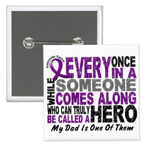 Pancreatic Cancer HERO COMES ALONG 1 Dad Pin