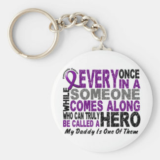 Pancreatic Cancer HERO COMES ALONG 1 Daddy Basic Round Button Keychain