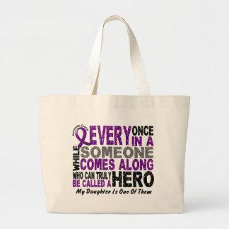 Pancreatic Cancer HERO COMES ALONG 1 Daughter Large Tote Bag