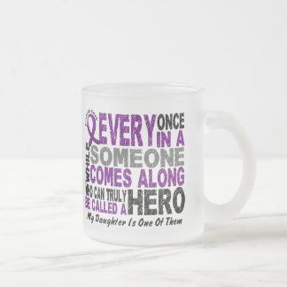 Pancreatic Cancer HERO COMES ALONG 1 Daughter 10 Oz Frosted Glass Coffee Mug