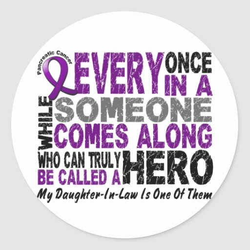 Pancreatic Cancer HERO COMES ALONG 1 DaughterInLaw Round Stickers