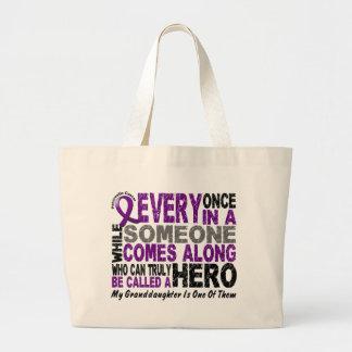 Pancreatic Cancer HERO COMES ALONG 1 Granddaughter Large Tote Bag