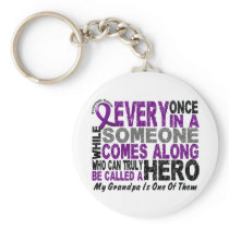 Pancreatic Cancer HERO COMES ALONG 1 Grandpa Keychain