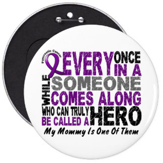Pancreatic Cancer HERO COMES ALONG 1 Mommy Pinback Button