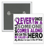 Pancreatic Cancer HERO COMES ALONG 1 Mother-In-Law Pinback Button