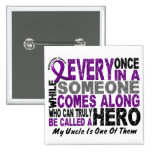 Pancreatic Cancer HERO COMES ALONG 1 Uncle 2 Inch Square Button