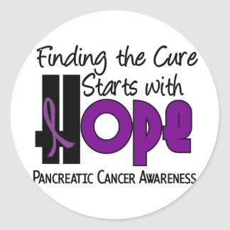 Pancreatic Cancer HOPE 4 Round Stickers