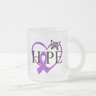 Pancreatic Cancer Hope Butterfly Heart Décor 10 Oz Frosted Glass Coffee Mug