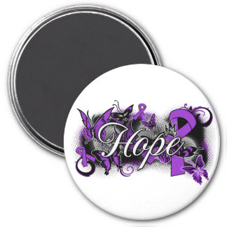 Pancreatic Cancer Hope Garden Ribbon 3 Inch Round Magnet