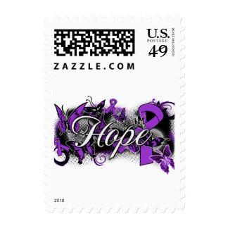 Pancreatic Cancer Hope Garden Ribbon Stamps