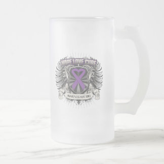 Pancreatic Cancer Hope Love Cure 16 Oz Frosted Glass Beer Mug