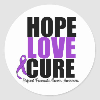 Pancreatic Cancer Hope Love Cure Round Stickers