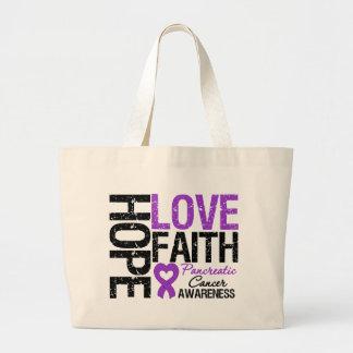 Pancreatic Cancer Hope Love Faith Large Tote Bag