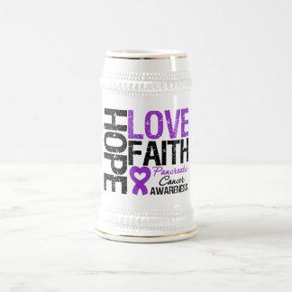 Pancreatic Cancer Hope Love Faith 18 Oz Beer Stein