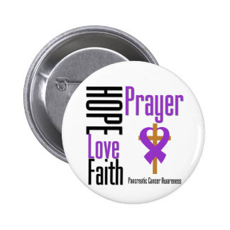 Pancreatic cancer Hope Love Faith Prayer Cross Pinback Buttons
