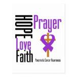 Pancreatic cancer Hope Love Faith Prayer Cross Postcard