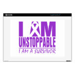 "Pancreatic Cancer I Am Unstoppable 15"" Laptop Skins"