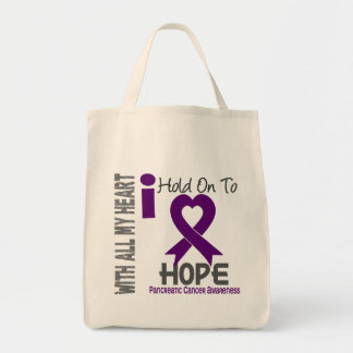 Pancreatic Cancer I Hold On To Hope Grocery Tote Bag