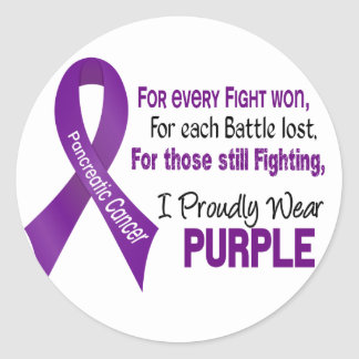 Pancreatic Cancer I Proudly Wear Purple Round Stickers
