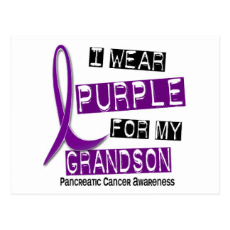 Pancreatic Cancer I WEAR PURPLE 37 Grandson Postcard