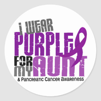 Pancreatic Cancer I Wear Purple For My Aunt 6.2 Classic Round Sticker