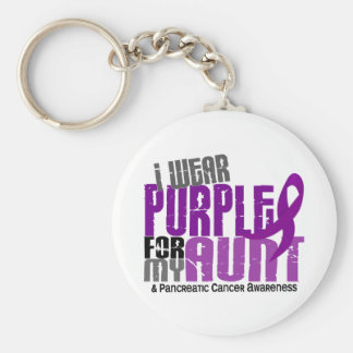 Pancreatic Cancer I Wear Purple For My Aunt 6.2 Keychain